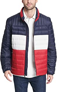 Men's Big and Tall Ultra Loft Packable Puffer Jacket, midnight/white/red, 2XT