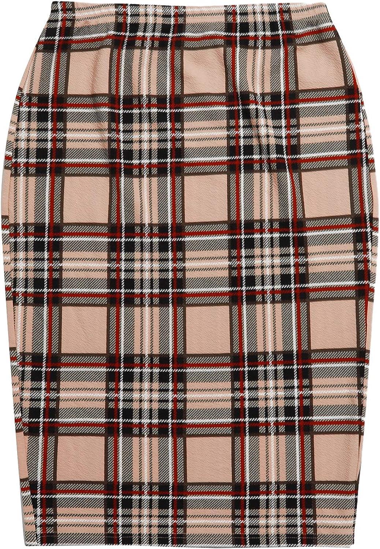 SheIn Women's Plus Size High Waist Tartan Skirt Bodycon Pencil Skinny Skirts
