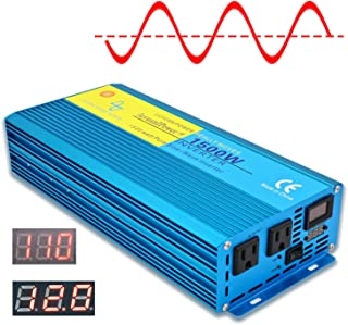 Cantonape 1500W Pure Sine Wave Power Inverter 3000W Peak Power Converter DC 12V to 110V AC LCD Display, Dual AC Outlets Car Boat Truck RV Solar Power