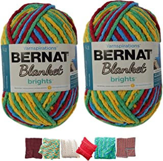 Big Ball Blanket Yarn Bundle by Bernat Plus 6 Blanket Yarn Patterns Super Bulky #6 10.5 Ounce Ball 220 Yards (Rainbow Shine Varg)