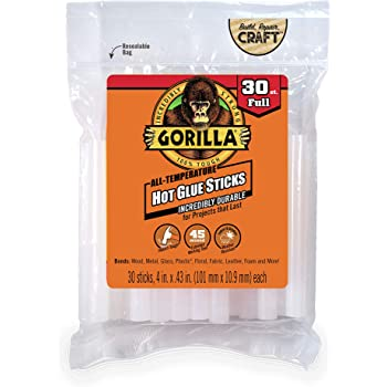 "Gorilla Hot Glue Sticks, Full Size, 4"" Long x .43"" Diameter, 30 Count, Clear, (Pack of 1)"