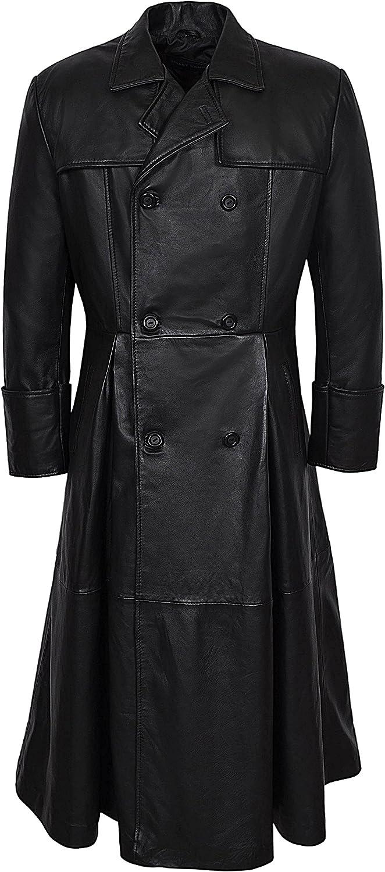 New Morpheus Style Men's Black FULLLENGTH Matrix Real Nappa Leather Jacket Coat