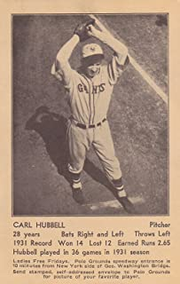 1932 CARL HUBBELL NEW YORK GIANTS POLO GROUNDS NY SCHEDULE POSTCARD w/TOPLOADER