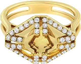 Antandre Womens 14K Yellow Gold Orange Citrine and 1/3ct TDW Diamond Cocktail Ring