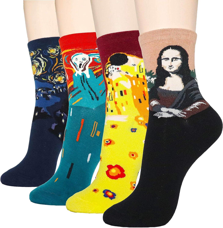 DearMy Women`s fun design Casual Cotton Crew Socks   Art Pattered  Fancy Design Crew Socks (One Size)