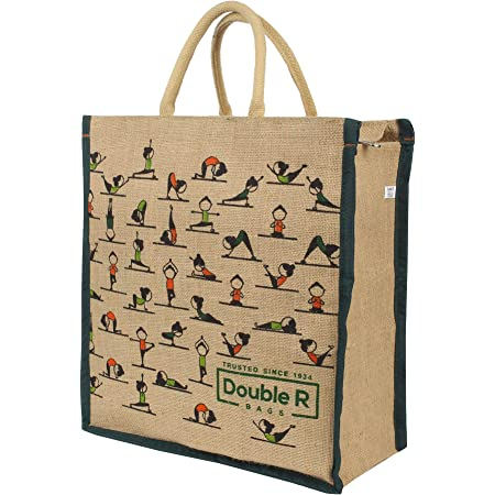 DOUBLE R BAGS Big Eco reusable yoga print jute cloth Carry lunch tiffin bag with zip Reinforced Handle for men women (pack of 1) Size Medium