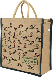 DOUBLE R BAGS Big Eco reusable yoga print jute cloth Carry lunch tiffin bag with zip Reinforced Handle for men women (pack...