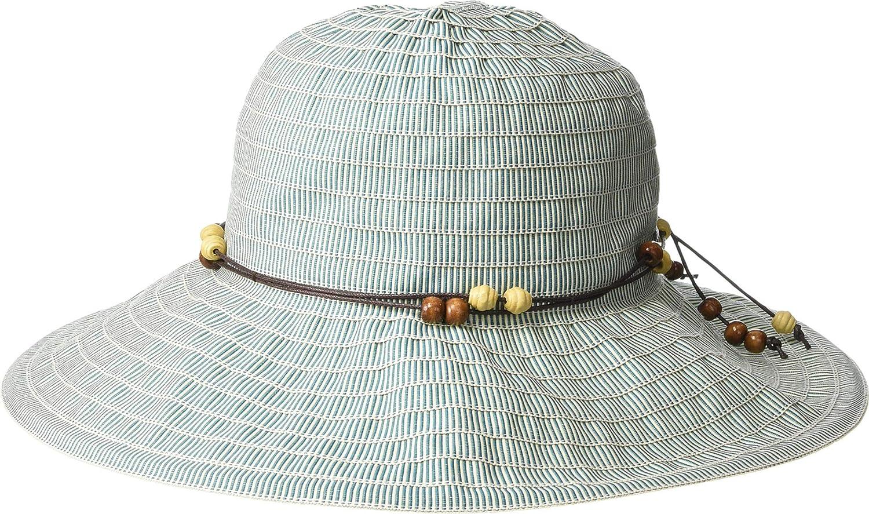 San Diego Hat Company Womens RBM5572  Medium Brim Ribbon Hat with Wooden Bead Trim