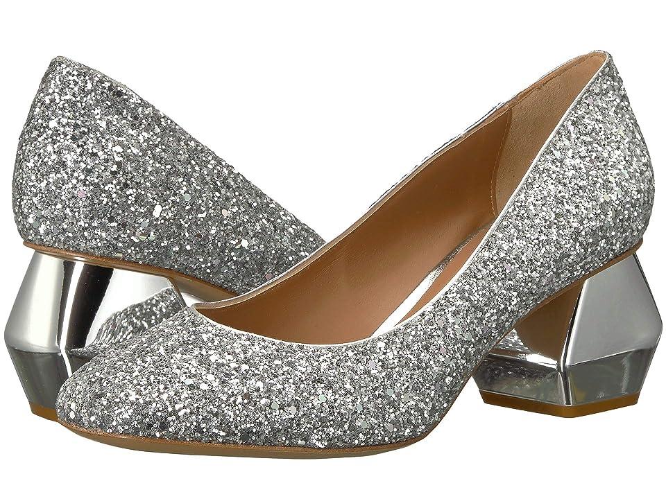 Emporio Armani Cubed Glitter Pump (Silver) Women's 1-2 inch heel Shoes