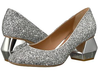 Emporio Armani Cubed Glitter Pump (Silver) Women