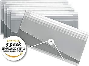 Premium Expandable Organization Storage Folders, Tidy Up Ready, Toggle + Elastic Closure, Slim Poly Expandable File Folder - 12 Pockets - Stone Color, Set of 5 Gray
