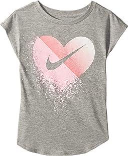 Glitter Heart Modern Short Sleeve Tee (Little Kids)