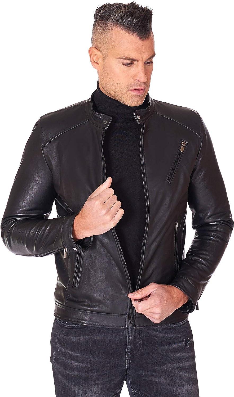 Black vintage lamb leather biker jacket