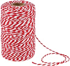 656 Feet Red and White Twine,Cotton Bakers Twine,Holiday Gift Wrapping Twine Christmas Twine String,Cotton Cord Kitchen Twine