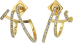 Pave Triple Hoop Earrings
