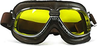 CRG Sports Vintage Aviator Pilot Style Motorcycle Cruiser Scooter Goggle T11 - Parent (Yellow lens silver frame)