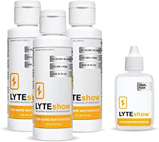 LyteShow Ionic Electrolyte Concentrate for Rapid Rehydration by LyteLine   3 Bottles + Travel Flask