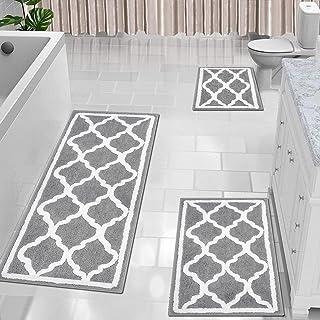HEBE Bathroom Rugs Sets 3 Piece No Slip Shag Microfiber Shower Bath Rug Absorbent Bath Mat Set for Bathroom Tub and Shower...
