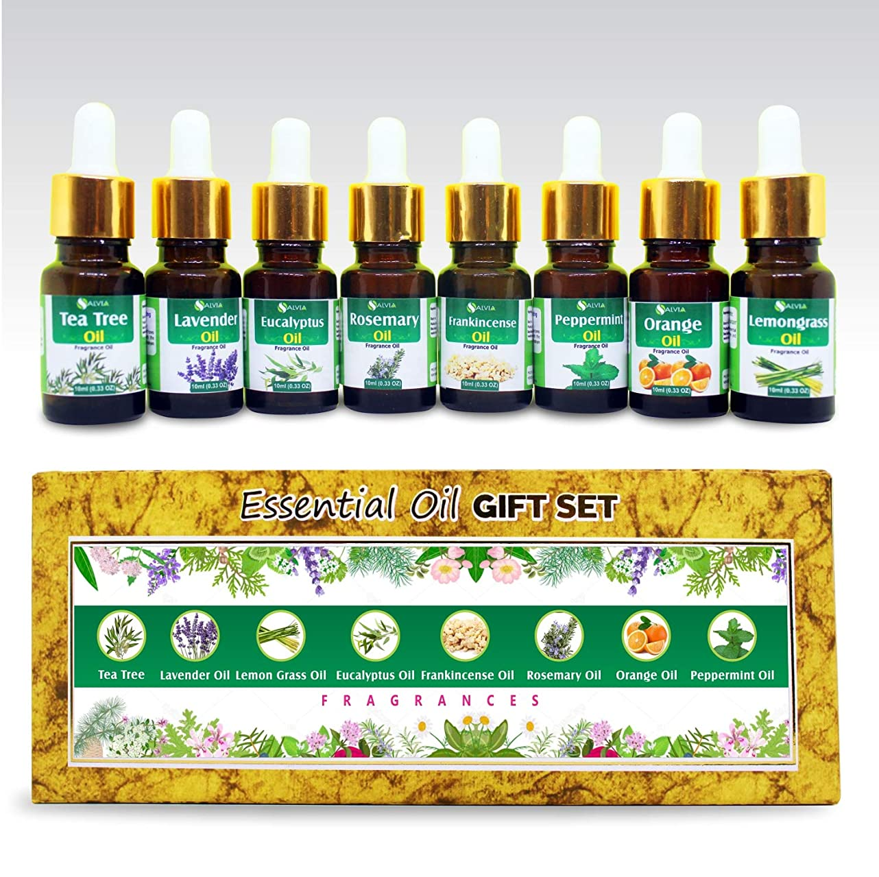 クライストチャーチ便宜シンボルAromatherapy Fragrance Oils - Pack of 8 Essential Oils 100% Natural Therapeutic Oils - 10 ML each (Tea Tree, Lavender, Eucalyptus, Frankincense, Lemongrass, Rosemary, Orange, Peppermint) Gift Set
