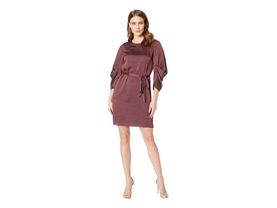 Vince Camuto Drapey Long Sleeve Trinket Geo Tie Waist Dress (Port) Women