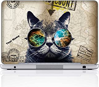 Meffort Inc Personalized Laptop Notebook Notebook Skin Sticker Cover Art Decal, Customize Your Name (15.6 Inch, Cool Cat)