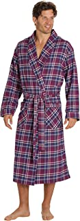 Mens Flannel Robe, Shawl Collar Lightweight 100% Cotton Bathrobe