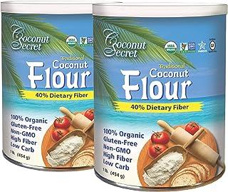 Coconut Secret Raw Coconut Flour (2 Pack) - 1 lb - High Fiber, Unheated, Unbleached, Unrefined Grain Flour Alternative - O...