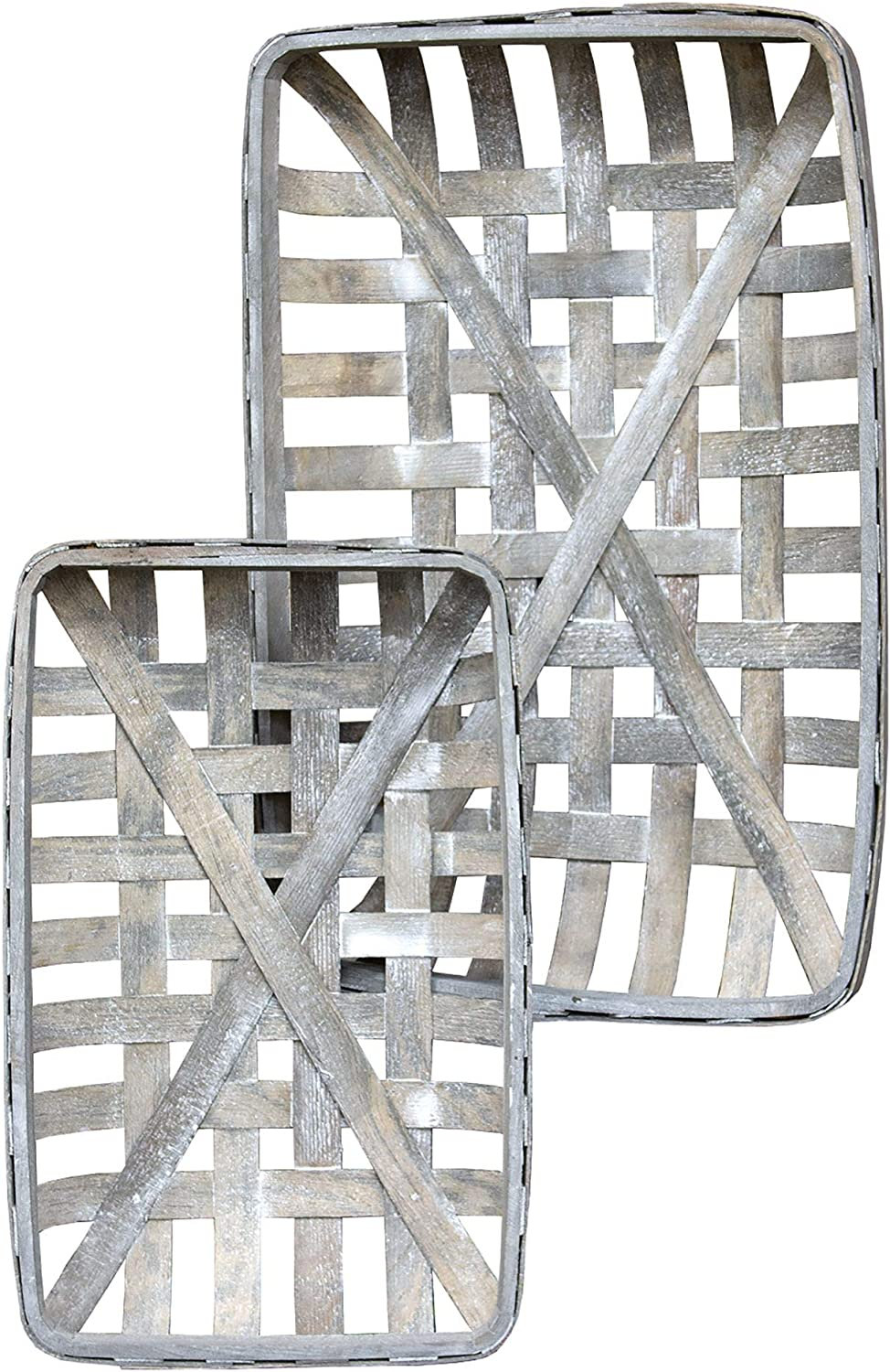 CWI Gifts Gray Rectangle Tobacco Max 45% OFF Baskets 2 Max 46% OFF Set Multi