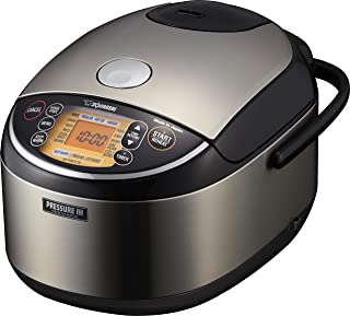 Zojirushi Pressure Induction Heating Rice Cooker & Warmer, Made in Japan, 10-Cup, Stainless Black