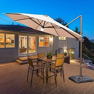 Abba Patio 11 Feet Offset Cantilever Umbrella with Solar Lights, Beige