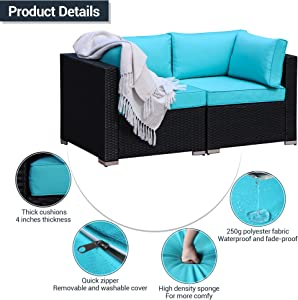 Patio Loveseats 2 Piece Outdoor All Weather Sectional Sofa Rattan Wicker Corner Sofa, Blace Wicker Blue Cushions