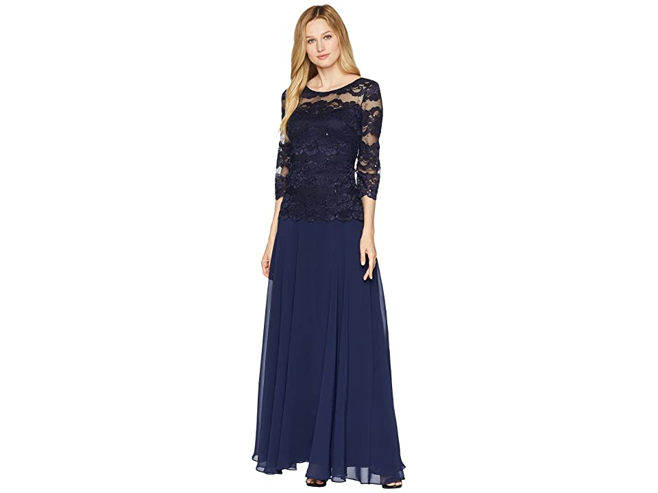 Sangria Popover Lace Gown (Navy) Women