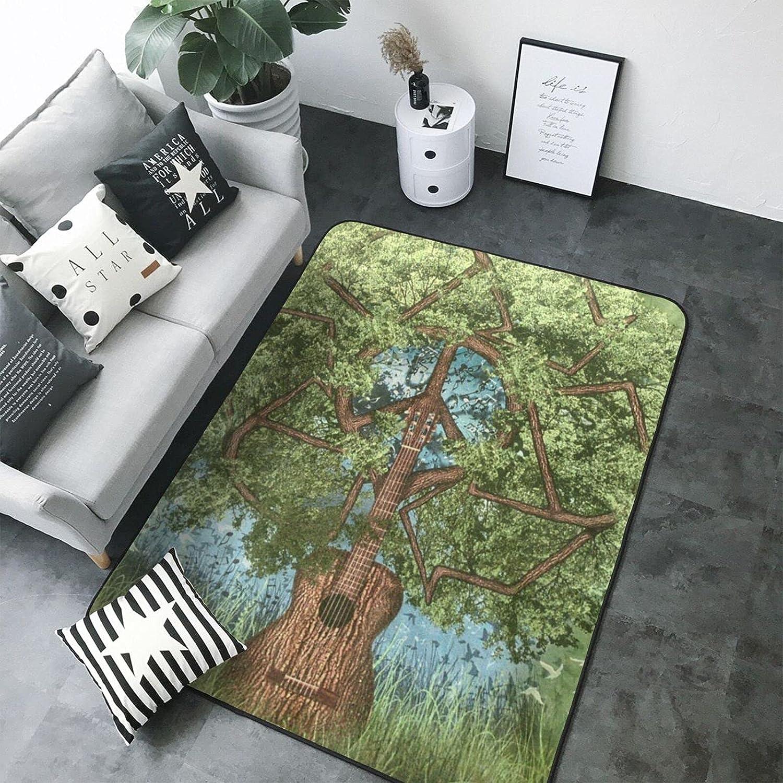 Meshood Guitar Tree Printed Product High Memory Liv Elastic Office Rugs Max 56% OFF