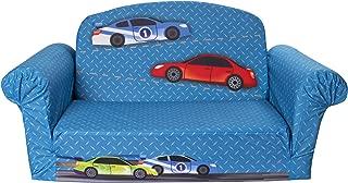 Marshmallow Furniture - Children's 2 in 1 Race Car Flip Open Foam Sofa