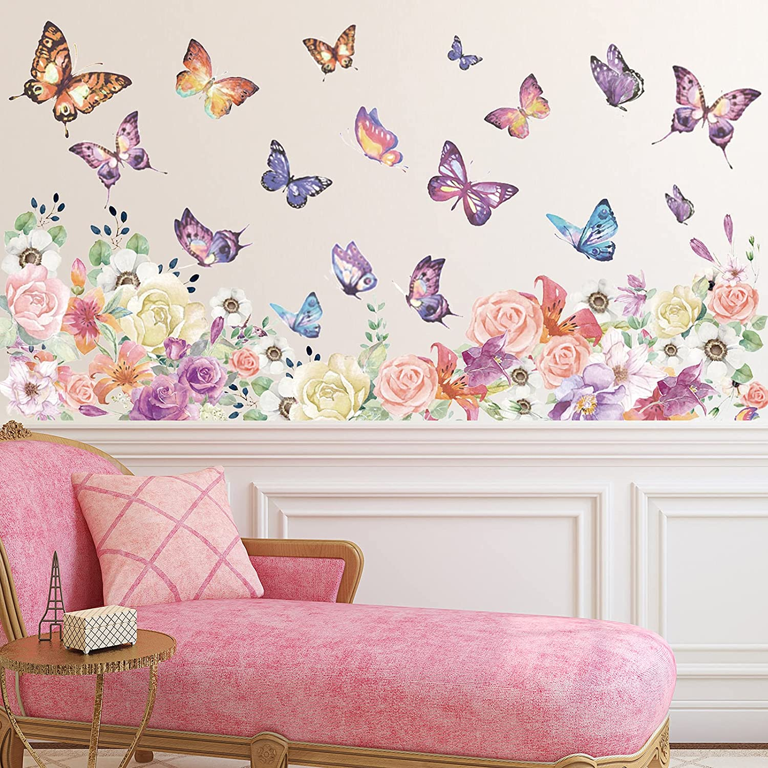 59 Pieces Flowers Butterfly Wall Decals Removable DIY Floral Butterfly Art Wall Stickers Garden Bouquet Wall Stickers for Bedroom Living Room TV Wall Home Decor