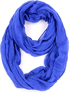BYOS Womens Airy Crinkled Lightweight Soft Infinity Scarf Loop Snood in Solid Color