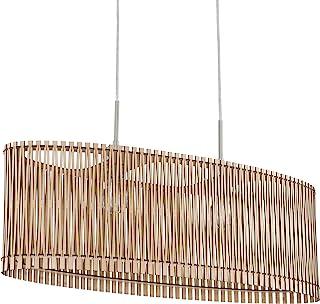 EGLO Lámpara colgante Sendero, 2 focos, vintage, natural, bohemio, de acero en níquel mate, madera de arce, mesa de comedor, lámpara colgante con casquillo E27, longitud 77,5 cm