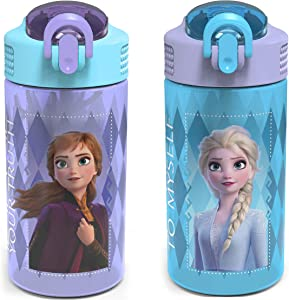 Zak Designs Disney Frozen 2 Kids Water Bottle Set with Reusable Straws and Built in Carrying Loops, Made of Plastic, Leak-Proof Water Bottle Designs (Elsa & Anna, 16 oz, BPA-Free, 2pc Set)