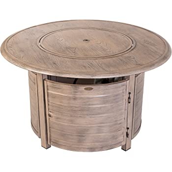 Fire Sense Thatcher Driftwood Round Aluminum LPG Fire Pit Table | 50,000 BTU Output | Uses 20 Pound Propane Tank | Fire Bowl Lid, Vinyl Weather Cover, and Clear Fire Glass Included | Lightweight