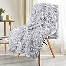 Noahas Super Soft Shaggy Longfur Throw Blanket - Snuggly Fuzzy Faux Fur Blanket - Warm Cozy Plush Sherpa Fleece Blanket - for Couch Sofa Bed Photo Props, Light Grey, 50x60 inch