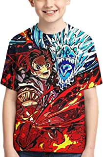 Anime Demon Slayer Tanjiro Boys and Girls Short Sleeve Crewneck T-Shirt Fashion Short Sleeve