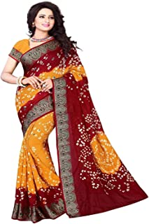 Esomic bandhani Mysore SilkSaree With Blouse Piece