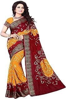 Esomic bandhani Mysore Silk Saree With Blouse Piece (maroon bandhani)