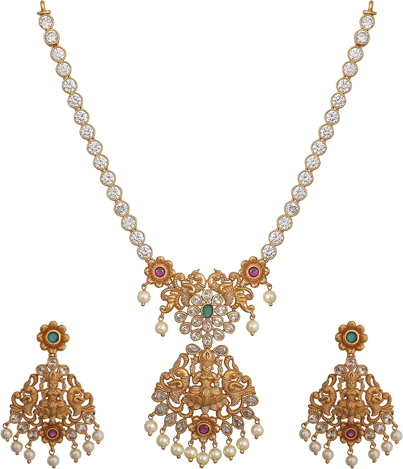 Tarinika Antique CZ Gold-Plated Indian Necklace Set - White Red Green -- For Women and Girls