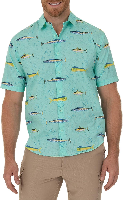 Guy Harvey Men's Max 57% OFF Printed Max 43% OFF Short Woven Sleeve Shirt