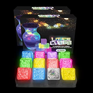 Lit Ice Cubes (24 Pack) Premium LED Light Up Ice Cubes With 8 Color Settings and On and Off Switch By LIT NOVELTIES