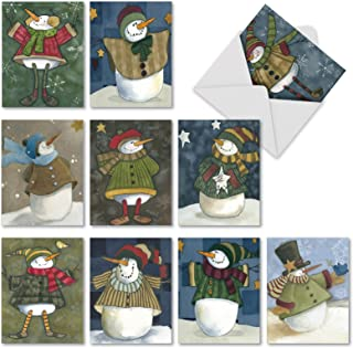 Snowman Friends - 10 Boxed Season's Greetings Cards with Envelopes (4 x 5.12 Inch) - Cute Snowmen, Adorable Assorted Merry Christmas Note Card Set - Holiday and Family Cheer M10001XS