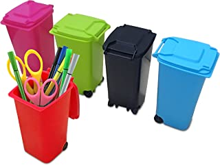 Premy Mini Wheelie Trash Can Storage Bin Desktop Organizer Pen/Pencil Cup, 3pcs Creative Dust Bin School Supplies Holder- (Assorted Green, Blue, Red, Pink, and Black Colors)