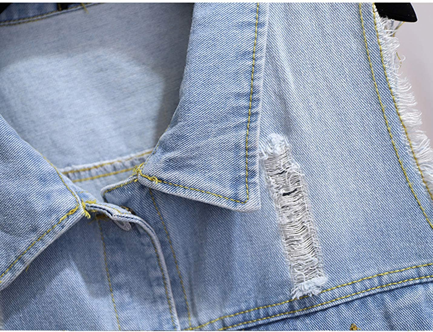 SeekMe Women's Oversized Sleeveless distressed Jean Waistcoat Plus Size Lapel Ripped Casual Denim Vests