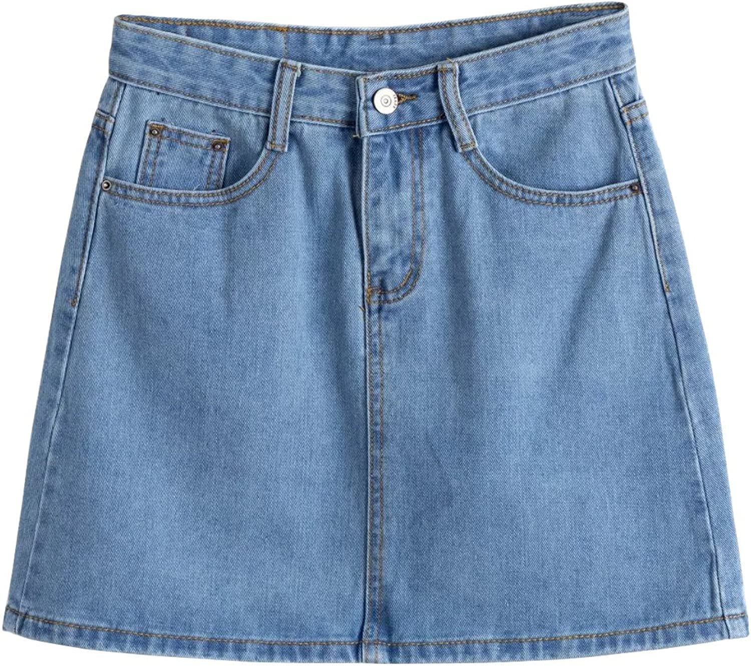 Tanming Women Casual Loose Aline Denim Skirts